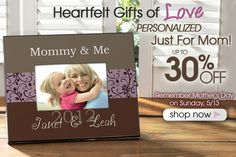 PersonalizationMall has all it's beautiful Mother's Day Gifts on sale for up to 30% off this week only! #MothersDay #Sale #Mom #Gifts #ProductsILove #PMall.com. Use code PMALLPINS at checkout and get free shipping on orders of $ 65 or more!