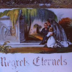 """Plaque funéraire en porcelaine, 1842, Saint Priest Taurion. Colonne de granit avec plaque #porcelaine représentant veuve et enfants du défunt. La mort est symbolisée par la sculpture du monument : faux et sablier. En arrière plan, un saule pleureur. L'idée de la mort à l'époque romantique est dominée par l'image de la tombe.Via """"Les funérailles de porcelaine"""" de JM Ferrer et PH Grandcoing #SauvonsNosTombes #Cimetiere"""