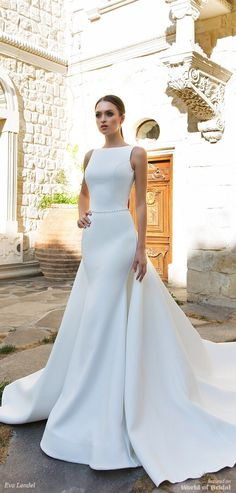 vey modern sleeveless waist band wedding dress, long train and ivory color, fit . vey modern sleeveless waist band wedding dress, long train and ivory color, fit for a timeless bride. Wedding Dress Types, Simple Wedding Gowns, Fit And Flare Wedding Dress, Wedding Dresses 2018, Elegant Wedding Dress, Perfect Wedding Dress, Designer Wedding Dresses, Trendy Wedding, Modest Wedding