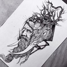 black and white sketch, flash tattoo