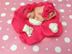 Baby and Bright Pink Flower Edible Cake Toppers Made of by anafeke, $17.00