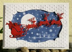 Christmas Card - All essential products for this project can be found on Crafting.co.uk - for all your crafting needs. - CottageBLOG: Santa & Reindeer Flying