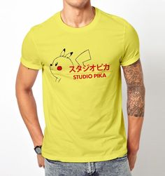 New Popular Funny Studio Pika Pikachu Pokemon Go T-Shirt Tee Men #Gildan #GraphicTee #Everyday