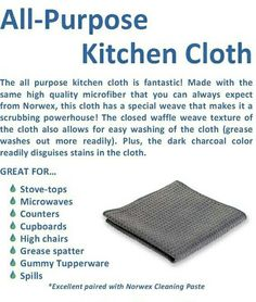 This is one of my new favorite Norwex cloths: the Norwex All-Purpose Kitchen Cloth. I use it on my counters, table, and to wash dishes. What I love it MOST for is wiping down my glass top stove. It pulled some boil-over marks by itself with just water! Shocked me and Corey! This thing is awesome!  Try it out! http:// www.kimaycock.norwex.biz