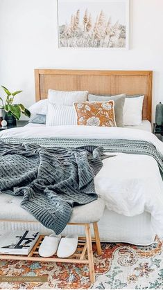 Room Ideas Bedroom, Home Decor Bedroom, Master Bedroom, Bright Bedroom Ideas, White Comforter Bedroom, Tan Bedding, Bedroom Decor For Women, Cream Bedding, Bedroom Artwork