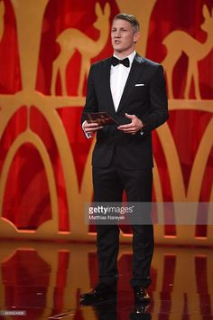 Bastian Schweinsteiger is seen on stage during the Bambi Awards 2014 show on November 13, 2014 in Berlin, Germany.