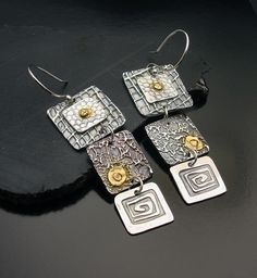 Earrings | Designs by Suzyn. Fine silver, 24k gold with Argentiuim silver ear hooks
