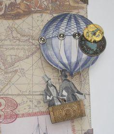 Hot Air Balloon Steampunk Airship Book Cover Art by Pakbrat
