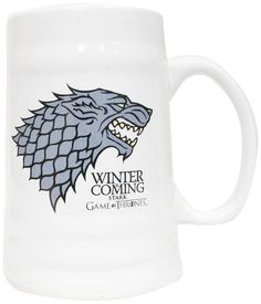 """Game of Thrones - Stark """"Winter is Coming"""" White Ceramic Beer Stein  Manufacturer: SDToys Barcode: 8436535273626 Enarxis Code: 012343 #toys #stein #Game_of_Thrones #Stark #tvseries"""