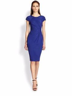 d01602ff89783 GIORGIO ARMANI COLLEZIONI Silk Cady Side-Pleat Dress in Blue Size: 6 - http