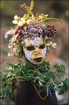 African botanical headdress hans silvester on pinterest for African body decoration