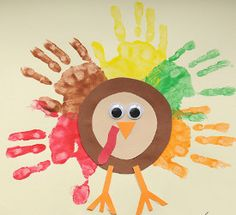 Handprint art is always a hit with the kids. This Gimme Five Turkey is such a cute Thanksgiving craft for kids! This would be great for the classroom, too. | AllFreeKidsCrafts.com