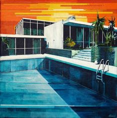 If It's Hip, It's Here: Paul Davies' Paintings Combine Modern Architecture, Pool. - If It's Hip, It's Here: Paul Davies' Paintings Combine Modern Architecture, Pools and Palms -