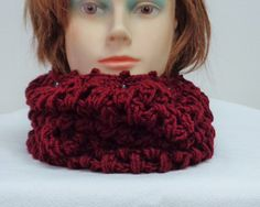 Burgundy Cowlneck and Headwarmer - Double Purpose Crochet Headwarmer Cowlneck - Redwine Headwarmer - Crocheted Cowl & Scarf - by lanesamarie by lanesamarie on Etsy