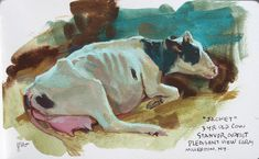 "Holstein named ""Jacket,"" gouache by James Gurney,  yellow ochre (Holbein), perylene maroon (Winsor Newton), and viridian (Winsor Newton)—plus white (M. Graham)"