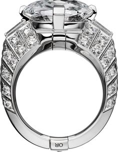 CARTIER. Ring - platinum, one 10.00-carat D IF type IIa cushion-shaped diamond, tapered diamonds, brilliant-cut diamonds. #Cartier - gorg, I love the art of it, but would never wear it