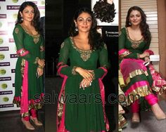 Neeru Bajwa in Designer Anarkali   --- Dark green and pink...