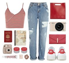 """""""Road Trip Comfort"""" by amazing-abby ❤ liked on Polyvore featuring adidas Originals, Gucci, Passport, Topshop, Fujifilm, Jouer, Nikon, Korres, MILK MAKEUP and River Island"""