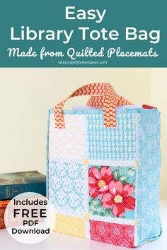 Learn How to Make a Cute Library Tote using Walmart Pioneer Woman quilted placemats. Easy Magazine Tote and fun Summer Library Bag. #quiltedtote #PioneerWoman #placematbag #MagazineTote #LibraryBag