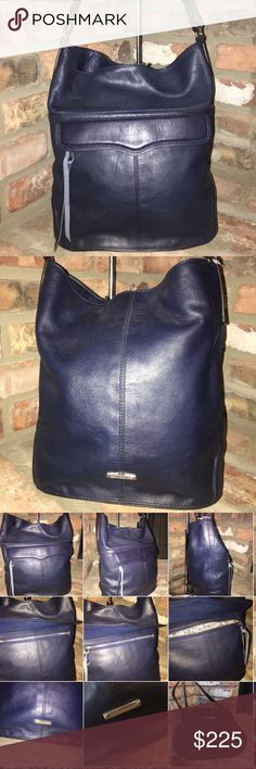 "REBECCA MINKOFF Navy Leather Bucket Handbag Gorgeous navy leather bucket shoulder bag. Brand New Without Tags.  Leather Imported nylon lining magnetic closure 12"" shoulder drop; 14"" high; 10"" wide. Outside pocket. Great condition; no issues: no smell no stains. Rebecca Minkoff Bags Totes"