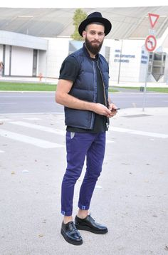 — Navy Wool Hat — Black Crew-neck T-shirt — Navy Gilet — Violet Chinos — Black Leather Brogues Gents Fashion, Look Fashion, Fashion Outfits, Fashion Clothes, Beard Fashion, Guy Fashion, Fashion Rings, Looks Casual Chic, Smart Casual