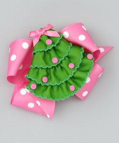 Take a look at this Christmas Tree & Pink Polka Dot Bow Clip Set by Picture Perfect Hair Bows on #zulily today!