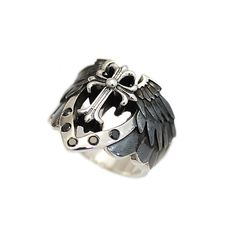 6010cd21b Cross/Angel/Wing/925 Sterling Silver Ring/Silver Cross Ring/Crusades/Biker  Ring/Gothic/Knights Templar/Black CZ/Men's/Women's hi-r02
