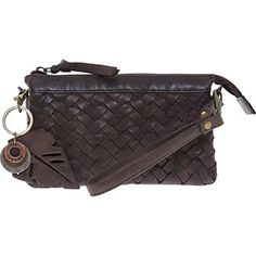 Dark Brown Woven Clutch Bag