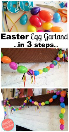 DIY plastic Easter egg garland done in 3 super easy steps. Ideas for decorating with plastic Easter egg for fun Spring home decor and craft. How to get your home ready for the Easter Bunny with DIY projects that kids can help with.  via @https://www.pinterest.com/dazzlefrazzled/