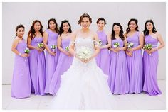Bride and Bridesmaids in Purple Hue Long Gowns | http://brideandbreakfast.ph/2014/07/21/purple-playfulness/ | Photographer: Rainbowfish Photography