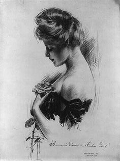 The Edwardian pompadour, illustrated by Charles Dana Gibson (1867-1944), date unknown.    PHOTO 25  notes