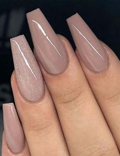 59 Beautiful Nail Art Design To Try This Season - long coffin nails , glitter na. - 59 Beautiful Nail Art Design To Try This Season – long coffin nails , glitter nails, mixmatched n - Coffin Nails Long, Long Nails, My Nails, Short Nails, Matte Nails, Acrylic Nails Coffin Classy, Beige Nails, Coffin Shape Nails, Pink Nail