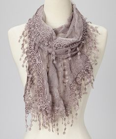 Take a look at this Light Purple Embroidered Lace Fringe Scarf by not branded on #zulily today!