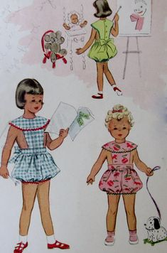 Complete Vintage Girls Play Suit Pattern Girl Toddler Size 6 Made in 1952 by McCallsPattern No. 8999. Pattern in good condition, envelope shows lots of wear, some tears