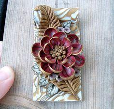 Red Flower on Gold Leaf Pendant