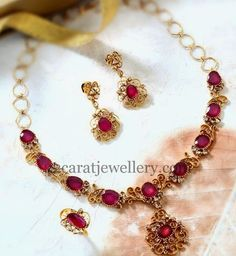 Jewellery Designs: Delicate Pretty Ruby Necklace