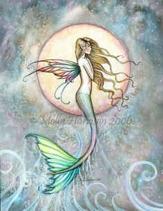 First Taste of Sky Mermaid Fine Art Print by by MollyHarrisonArt, $18.00