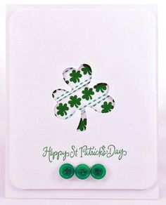 Several cute St. Patrick's Day cards here.  Love the ribbon behind the punch-out on this one.
