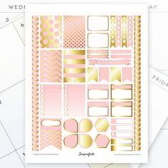 Scrapcraftastic: Lite Pink & Gold Printable Planner Stickers #happyplanner