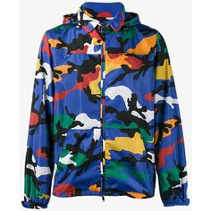 Valentino camouflage print hooded jacket ($1,215) ❤ liked on Polyvore featuring men's fashion, men's clothing, men's outerwear, men's jackets, multicolour, mens zipper jacket, mens zip jacket, mens blue jacket, mens lightweight jacket and mens light weight jackets
