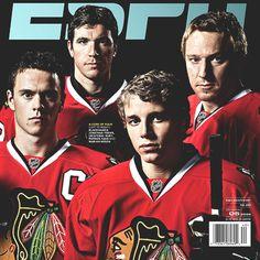 Chicago Blackhawks (from left to right - Jonathan Toews, Cristobal Huet, Patrick Kane, Marian Hossa)