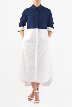 I <3 this Colorblock high-low hem poplin shirtdress from eShakti