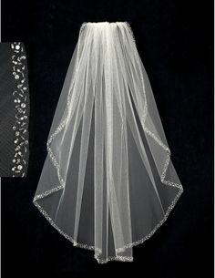 Bridal Veil with Pearl Sequin Bugle Bead & Rhinestone Edge