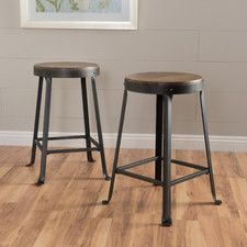The industrial design of the Locke Brown Weathered Wood Counter Stool - Set of 2 adds distinctive character to your urban or industrial-inspired home. Brown Bar Stools, 24 Bar Stools, Club Chairs, Dining Chairs, Dining Area, Bar Chairs, Room Chairs, Farmhouse Stools, Modern Farmhouse