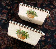 Nantucket Stoneware Mini Loaf Pans Vintage Ceramic Baking