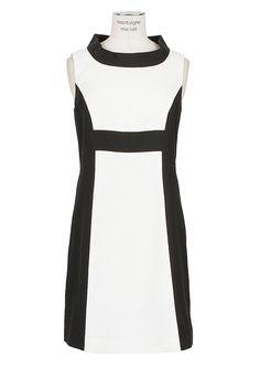 Rachel Zoe ivory and black sleeveless dress.