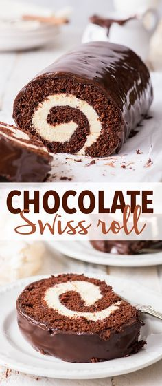 Chocolate Swiss Roll (Gluten Free) - A simple recipe for the most indulgent chocolate Swiss roll. With a moist and decadent gluten free chocolate sponge, a mascarpone whipped cream filling, and a. Chocolate Roulade, Chocolate Roll Cake, Chocolate Ganache, Chocolate Swiss Roll Recipe, Chocolate Sponge Cake, Chocolate Trifle, Chocolate Cupcakes, Gluten Free Chocolate, Homemade Chocolate