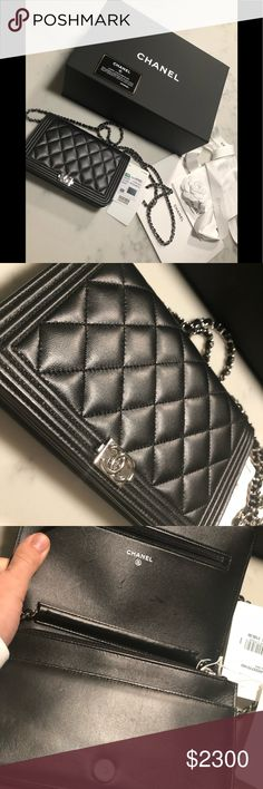 Chanel boy wallet on chain Worn ones still has all tags attached!! Was in 54c5233041