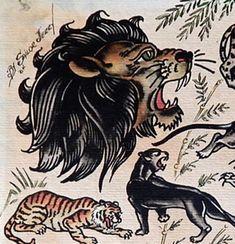 Tattoo Traditional Hand Sailor Jerry 62 New Ideas Traditional Lion Tattoo, Traditional Tattoo Old School, Tiger Tattoo, Cat Tattoo, Elephant Tattoos, Animal Tattoos, Back Of Ankle Tattoo, Knee Tattoo, Vintage Tattoo Art