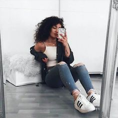 White tank + ripped jeans + adidas superstars. Casual outfit for school.
